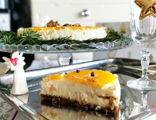 Novoroční pomerančový cheesecake ve slavnostním prostředí